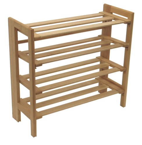 Winsome Wood Foldable 4-Tier Shoe Rack, Natural (Shoe Cart compare prices)