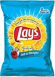 Lay's Potato Chips, Salt & Vinegar, 1.5-Ounce Large Single Serve Bags (Pack of 64)