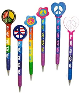 Inkology Peace Pen, Ball Point, Assorted Retro Designs - 6 Pieces (609-1)
