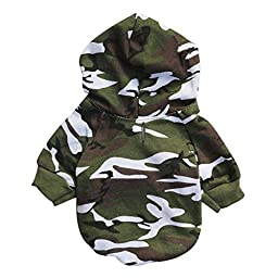 MNBS Dog\'s Camo Patterned Cozy Shirt Jersey for Spring with Hoodie Medium Green