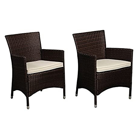 Liberty Deluxe Brown Patio Wicker Armchair (Set of 2) With Chanasya Polish Cloth