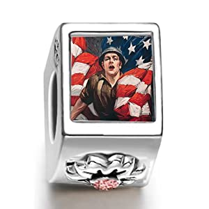 World War soldier American flag July birthstone photo flower European charm bead