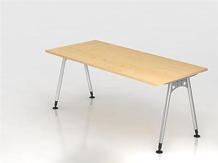 Scrivania Hammerbacher Serie A 180 cm decorazione colori assortiti in legno regolabile in altezza grigio