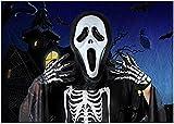 【ELEEJE】コスプレ仮装ハロウィンスクリーム衣装、仮面、手袋付き(黒マント、仮面、手袋3点セット,Nature)