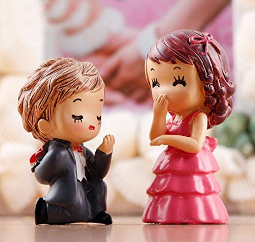 LU2000 Propose to Her Minifigures Small Size Micro Figurines Statue Bridegroom Groom Couples [Wedding Series] for Micro Landscape Desk Home Decoration Little Statue Mini Sclupture Pack of 2