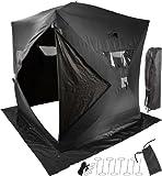 "72"" x 72"" Black Portable 4-Person Ice Fishing Shanty Tent"