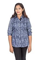 Juee Women's Printed Casual Shirt (JU102SY1TFNBL) (Medium)