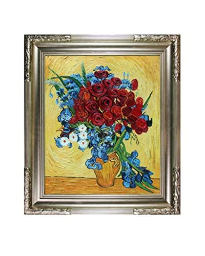 Vincent van Gogh Poppies and Iris Collage  Framed Hand-Painted Artist's Interpretation