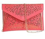 Womens Envelope Clutch Chain Foil Floral Purse Lady Handbag Shoulder Evening Bag (Watermelon Red)