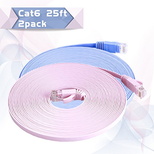 Cat6 Ethernet Patch Cable Flat 25ft ( The Latest Fashion Colors )(At a Cat5e Price but Higher Bandwidth) Internet Network Cable - Cat 6 Short Computer Cable With Snagless RJ45 Connectors (Home 20 Feet compare prices)