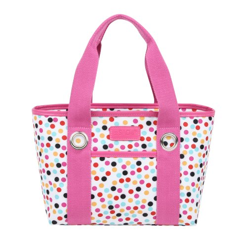Sachi Fun Print Insulated Lunch Tote, Style 11-224, Pink Confetti
