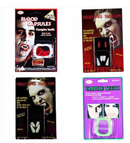 Halloween Costumes Vampire Teeth Dentures Zombie Vampire Blood Pill-4pcs