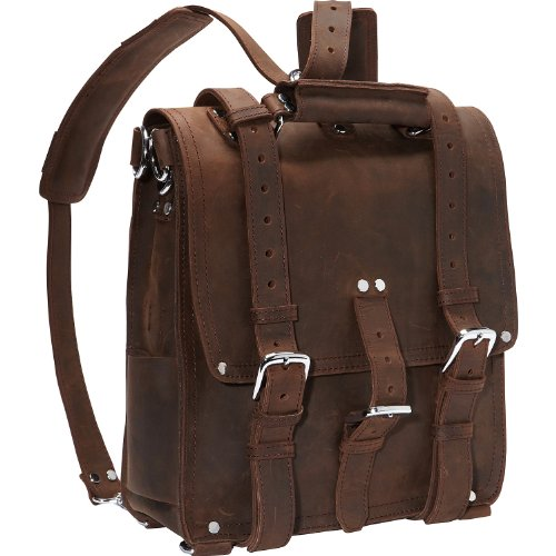 Vagabond Traveler Hiker – Tall Leather Backpack Tote Bag 14″ L03