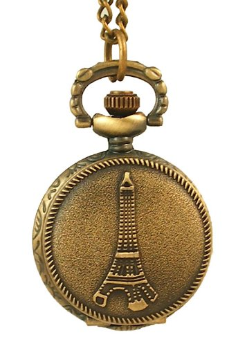 Swiss Hunter  Watches hot deals: Vintage Engraved Jewelry Carving Flip Cover Style Antique Copper Pocket Watch Fashion Retro Eiffel Tower