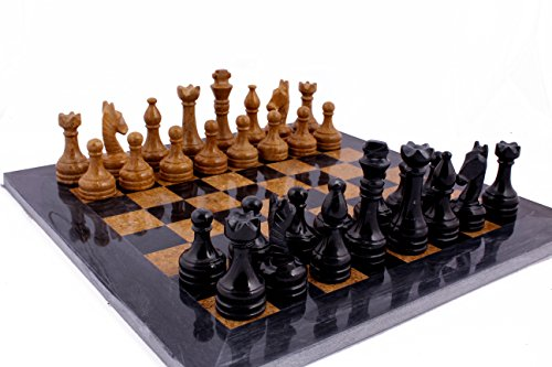 RADICAL 16 Inches Handmade Black and Golden Original Hand Crafted Marble Full Chess Game Set 0