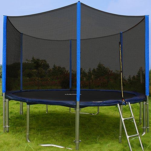 108-Springs-15FT-Trampoline-with-Enclosure-Net-and-Wind-Stakes-Rain-Cover-Ladder-are-Included-Spring-Pull-T-hook-2016-Upgrade