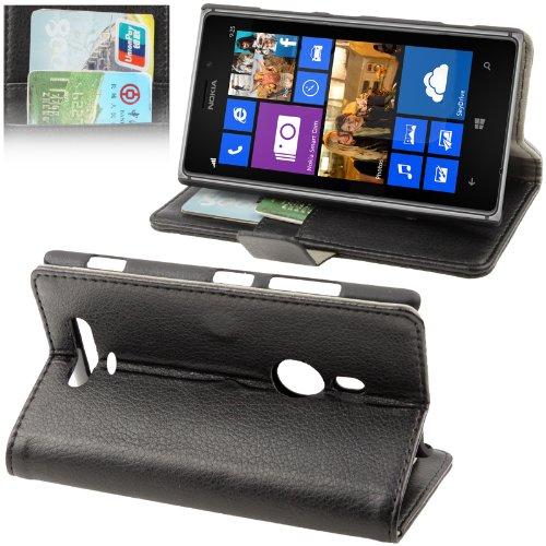Custodia portafogli agenda e supporto tavolo Nokia Lumia 925 (Spedizione con Corriere Espresso) (Nero + 2 pellicole)