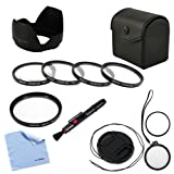 BIRUGEAR 58mm SLR Camera Lens Accessory Kit Includes Macro Close up filter Kit + UV Filter + Lens Cap with Strap + Flower Lens Hood + Lens Pen +Cleaning Cloth for Canon EOS 70D, 1100D, 1000D, 100D, 700D, 600D, 550D, 500D, 450D, 400D, 60D, 60Da, 7D, 5D Ma