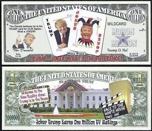 [Lot of 100 BILLS - Donald Trump Joker Reality Show Moron Million Dollar Bill] (Six Million Dollar Man Costume)
