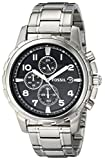 Fossil Mens Watch FS4542 with Black Dial and Stainless Steel Bracelet