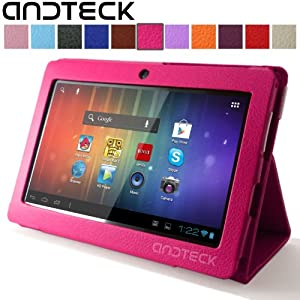 """Andteck Flip Leather Case for Zeepad 7.0, Dragon Touch A13 Q88, Y88, Chromo, FastTouch, Tagital, Noria Jr, Tab Nero 7"""" Tablet PCs w/Dual Camera [Protector/Stand] (Hot Pink)"""