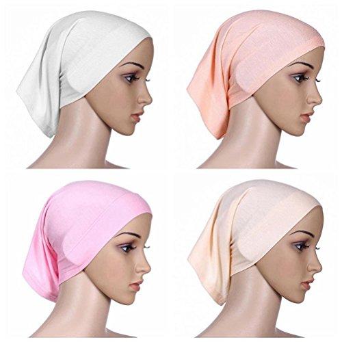 Ksweet 4 Pack Hijab Style Sciarpe Donna Cappellini Sciarpa Bandana Turbante Cofano (multicoloured-03)