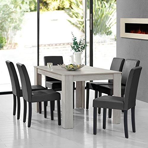 Massiv Esszimmer Comforafrica: [en.casa] Esstisch Eiche Weiß Mit 6 Stühlen Dunkelgrau