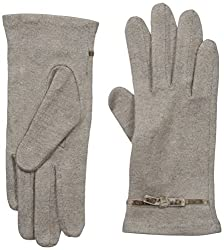 Gloves International Women's Wool Blend Gloves with Bow, Medium Brown, Small/Medium
