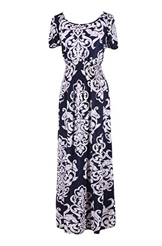 LUV Women's Short Sleeves Antique Print Summer Holiday Resort Beach Maxi Dress Navy XXL (3260