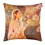 India Circus Maharani and Lotus Poly Velvet Cushion Cover - 20