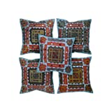 Rajrang Blue Cotton Applique Border With Mirror Patch Cushion Cover Set Of 5 Pcs #Ccs05758