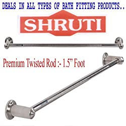 SHRUTI (Saloni)Heavy Duty Twisted Stainless Steel Bathroom Towel Rod / Towel Stand / Towel Holder / Towel Rack for routine use of Bathroom Accessories - 1.5 Foot Long -1652