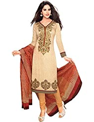 Beige Cotton Embroidered Dress Material