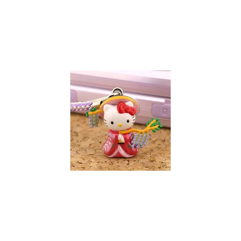 Sanrio Hello Kitty Legendary Kabuki Heroine Netsuke Cell Phone Strap (Fujimusume)   Japanese Import *** Free Domestic Standard Shipping for This Item