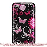Premium Design Hard Crystal Case Cover for Apple iPod Touch 4G, 4th Generation, 4th Gen – Pink Butterfly Print