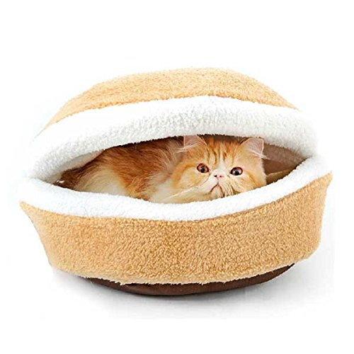 Cat Hamburger Bed Novelty Hamburger Design Washable Pet House Kitty Burger Pillow Bed Cat House (Small Size:46 X 35 X 26cm)