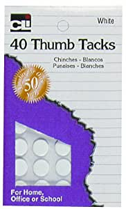 Charles Leonard Thumb Tacks - White On Safety Cards - 40/Card, 83535