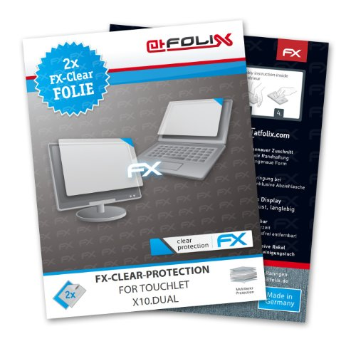 atFoliX FX-Clear screen-protector for Touchlet X10.Dual (2 pack) – Crystal-clear screen protection!
