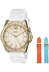 GUESS Women's U0592L1 Interchangeable Gold-Tone Mid-Size Watch Set with 3 Comfortable Silicone Straps in White, Coral & Turquoise