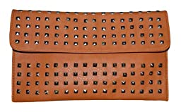 Patzino Fashion Collection, Faux Leather Chic Women\'s Envelope Clutch With Studs (Tan)