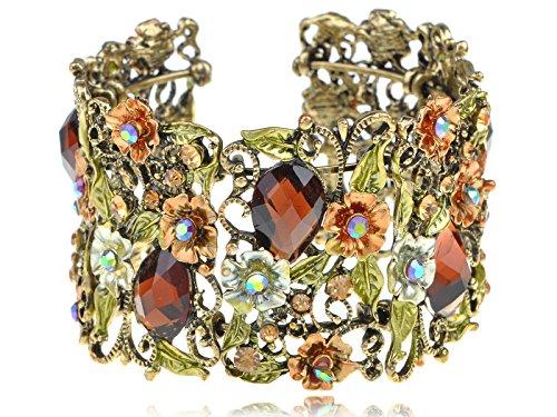 Antique-Inspired-Crystal-Rhinestone-Flower-Fields-Garden-Bracelet-Bangle-Cuff