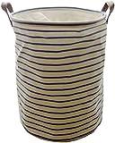 Sea Team Waterproof Coating Ramie Cotton Fabric Folding Laundry Hamper, Storage Basket