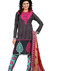 Shree Hari Creation Women's Poly Cotton Unstitched Dress Material (234_Black_Free Size)