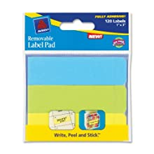 Avery Removable Label Pad, 1 x 3 Inches, Assorted, Neon, 120 Labels (22011)