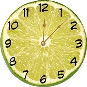 "Rikki Knight Lime Slice Deco Design 10"" Wall Clock - **Proudly Made in the USA**"