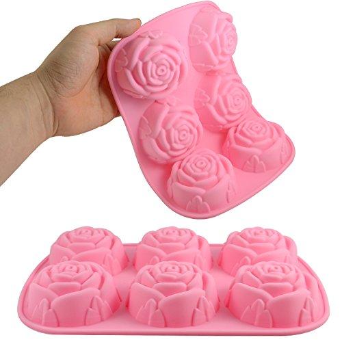 Molde de silicona 6 rosas cosm tica org nica hecha por t - Moldes silicona amazon ...