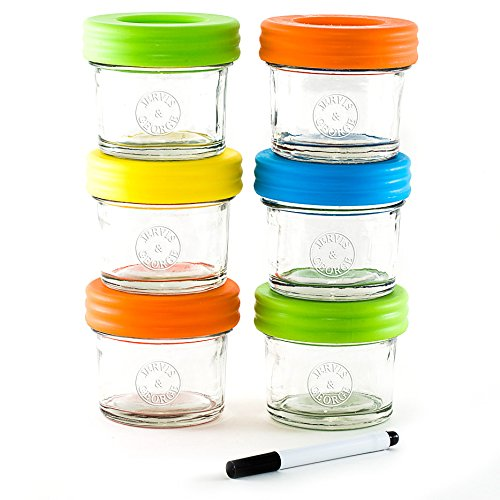 Glass Baby Food Storage Containers - Set contains 6 Small Reusable 4oz Jars with Airtight Lids - Safely Freeze your Homemade Baby Food (Baby Freezing Containers compare prices)