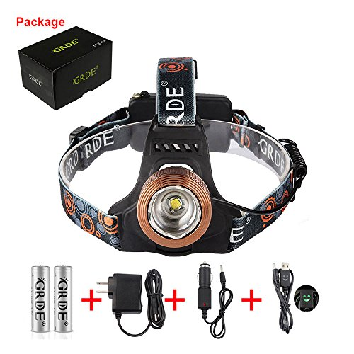 Zoomable Headlight Headlamp , T6 Beam LED Head Lamp Light Torch , Spotlight Floodlight , Rechargeable Waterproof Flashlight , for Night Fishing Hunting Camping Hiking Cycling Riding Running , Coffee