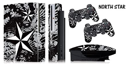Protective skins for FAT Playstation 3 System Console, PS3 Controller skin included - NORTHSTAR SILVER