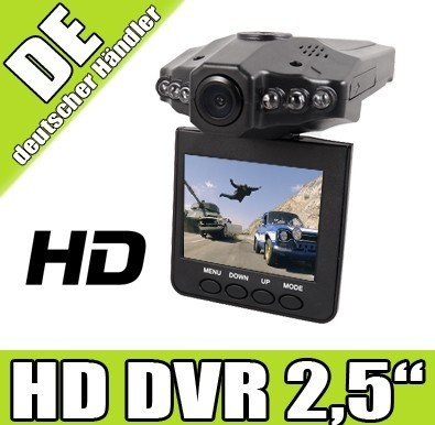 bsales® HD DVR Auto Kamera 2,5' TFT LCD Screen Nachtsicht LED Bewegunsmelder blackbox